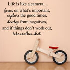 CAMERA life is like a family living bed dining room Wall Art Stickers Quotes