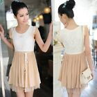 Women Spring Summer Court Style Retro Lace Chiffon Sleeveless Short Mini Dress