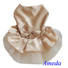 Gold Tutu Bling Bling Crystal Party Dress Small Pet Dog Cat Clothes XS S M L