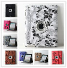 Various Flower Design 360 Rotating PU Leather iPad Case Cover Fit iPad 2 3 4