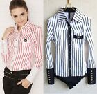 Classic Fashion Striped Long Sleeved Bodysuit Blouse Top AU Sizes S-8 M-10