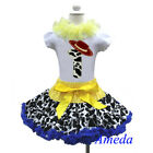 1st Birthday Cowgirl Pettiskirt Red Hat White Short Sleeves Top 2pcs 1-7Y