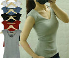 Simple Girls V Neck Sleeveless Shoulder Padded Slim Solid Vest Top T-shirt 1958#