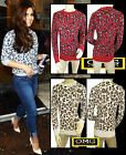 WOMENS NEW LADIES LONG SLEEVE ANIMAL PRINT KNITTED JUMPER TOP SIZE 6-14