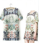 Cute Europe Fashion Summer Woman Lady Floral Crew Neck Short Sleeve Dress S M L
