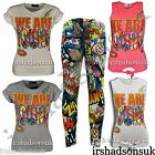 New Girls Comic Book Print Glitter Multi Color Top T Shirt & Leopard Legging Set