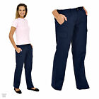 Ladies Womens Cargo Combat Work Wear Trousers Pants Black or Navy Size 10 - 20