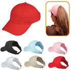 Womens Girls Cotton Ponytail Pony Tail Caps Hats with Visor Flex Elastic Closure