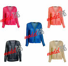 LADIES WOMENS LONG SLEEVE CARDIGAN MESH LACE CROCHET TOP KNITTED SWEATER 8 - 14