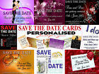 12 PERSONALISED SAVE THE DATE WEDDING CARDS/INVITATIONS PLUS ENVELOPES.