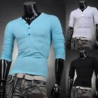 Hot Sale Mens Fashion Designer Slim Fit Long Sleeve Top Tee V-Neck T-Shirts New
