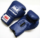 NATIONMAN MUAY THAI BOXING GLOVES GEAR PU LEATHER Blue 18 OZ.