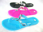 New Ladies Diamante Stoned Jelly Sandals Flip Flops Blue Black Pink Size 4 5 6 7