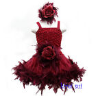 Ruby Red Rose Pettiskirt Wedding Party Flower Girl Feather PettiDress 1-7Y