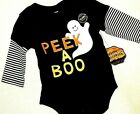New Infant ONE Piece OUTFIT HALLOWEEN Black GLOWS in DARK GHOST 0-3M 3-6M