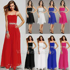 Womens Beaded Chiffon Empire Cocktail Party Evening Prom Short Long Dress