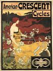 ADVERT CRESCENT BICYCLE CYCLES AMERICAN FRANCE POSTER ART PRINT PICTURE