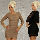 504 SEXY CLUBBING PARTY STRETCH 3/4 SLEEVE LACE MINI BODYCON DRESS BLACK BEIGE