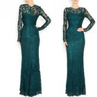 Elegant Dark Teal lace Formal Occasion Evening Prom Womother's Maxi Dress