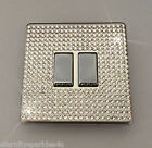 Crystal Slim Screwless 2G Gang Double Light Switch Made With SWAROVSKI ELEMENTS