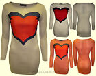 Womens New Ladies Knitted Comic Heart Print Body con Jumpe Dress Ladies Top/8-14