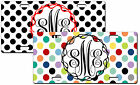CUSTOM PERSONALIZED METAL MONOGRAMMED LICENSE PLATE - POLKA DOTS-SEVERAL COLORS