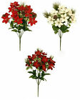 42cm - 9 stem Mini Poinsettia Pine Cones Posy Christmas Memorial