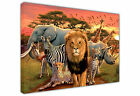 CUTE AFRICAN ANIMALS LANDSCAPE LARGE CANVAS PRINT WALL ART / PHOTO IMAGE SUNSET