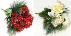 2 x 25cm Christmas Artificial Flowers Red Peony and Pine Posy. Xmas