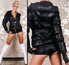 836 Warm Redial Hooded Button Zip Pockets Black Jacket incl. BELT Size 10 12 14