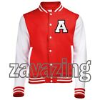 RED VARSITY BASEBALL JACKET WITH YOUR INITIAL STITCHED FELT RAISED 3D COLLEGE