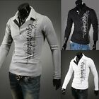 Free Ship New Mens Fashion Casual Polo Shirts Long SLeeve Slim T shirts Tees T21