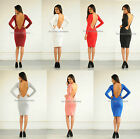 New womens ladies sexy low back long sleeve backless midi celeb bodycon dress
