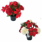 Artificial Flowers Christmas Poinsettia Carnation Cemetery Pot Memorial Tribute