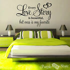 Love Story Vinyl Art Home Wall Bedroom Room Quote Decal Sticker Decoration Heart