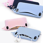 Cute Whale Rubber Card Holder Soft Case Cover for Apple iPhone 4 4S 5 5S Free SP