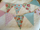 Handmade Bunting Floral Polka dot Gingham Shabby chic PVC Flags with Ribbon 20ft