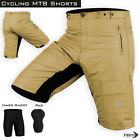 MTB Cycling Cycle Off Road Short With Padded Liner Shorts Tan Size S-M-L-XL
