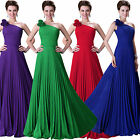 Ruffle One Shoulder Long Dress Ball Bridesmaid Wedding Homecoming Gown Size 6-20