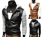 Top Men's Slim Fit Hoody Jackets Faux Leather Jacket Coat Unique Sweats Outwear