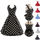ROCKABILLY 50s BLACK PINK WHITE ROSE RED POLKA DOT SWING PROM DRESS SIZE S-XL