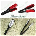 Hair Straightener Ceramic Double Brush Clamp Comb Pro Salon Hairdressing Tool