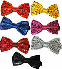 Classic SATIN SEQUIN Dickie Bow Tie Fancy Dress Party Pretied Wrap Around