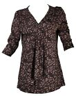 BON MARCHE Womens Ladies V Neck Pleated Black & Brown Print Top SIZES 12- 32
