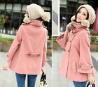 Fashion Women Warm Comfy Faux Fur Collar Double Breasted Wool Blends Coat XS S M