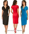 Stretch Sheath Smart / Casual Knee Length Dress with Pockets Y Neck UK 12-14 967