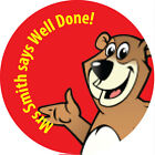 Personalised School Teachers Stickers 30mm Dia. Well Done Bear - quick post