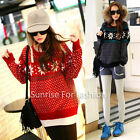 Korean Womens Ugly Christmas  Snowflake loose Knitted Sweater Jumpers
