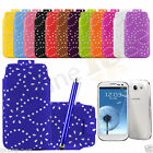 Leather Diamond Glitter Pull Tab Case Cover For Galaxy S3 i9300 & Big Pen