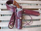 """Gun Belt - Cartridge - with 8"""" to 10"""" Tooled Holster Combo - .45 Caliber - Wine"""